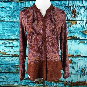 Prana Evelyn Top Paisley Print Long Sleeve Blouse